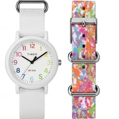 Timex Weekender Color Rush White Dial Box Set Ladies Watch TWG018200