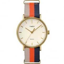 Timex Weekender Fairfield Blue, Orange & Beige Strap Ladies Watch TW2P91600