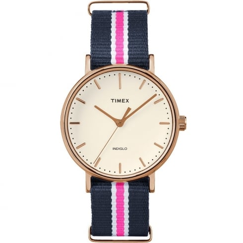Timex Weekender Fairfield Blue, Pink & White Strap Ladies Watch TW2P91500