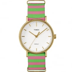 Timex Weekender Fairfield Pink & Green Strap Ladies Watch TW2P91800