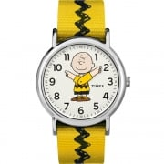 Timex Weekender Peanuts Charlie Brown Yellow Strap Watch TW2R41100