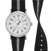 Timex Weekender White Dial Black & Grey Slip Thru Strap Gents Watch TW2P72200