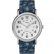 Timex Weekender White Dial Blue Paisley Print Fabric Strap Ladies Watch TW2P81100