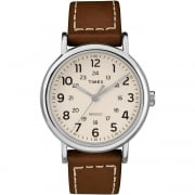 Timex Weekender White Dial Brown Leather Strap Gents Watch TW2R42400