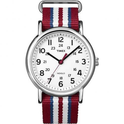 Timex Weekender white dial nylon strap Mens watch T2N746