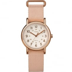 Timex Weekender White Dial Pink Nylon Slip Thru Strap Ladies Watch TW2R59900