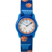 Timex White Dial Basketball on Blue Strap Kids Watch TW7C16800