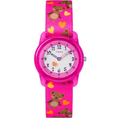 Timex White Dial Bears on Pink Strap Kids Watch TW7C16600
