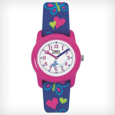 Timex White Dial Butterfly Blue Elastic Fabric Strap Kids Watch T89001