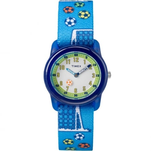 Timex White Dial Soccer on Blue Strap Kids Watch TW7C16500