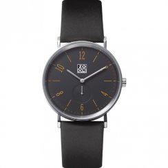 Zoom City Walk black dial leather strap Mens watch ZM.3772M.2518
