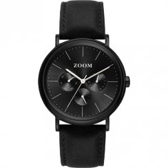 Zoom Coffee Moment black dial leather strap Mens watch ZM.7117M.2502