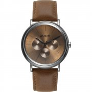 Zoom Coffee Moment brown dial leather strap Mens watch ZM.7117M.2517