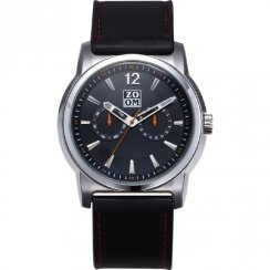 Zoom Confidence black dial leather strap Mens watch ZM.7092M.2502