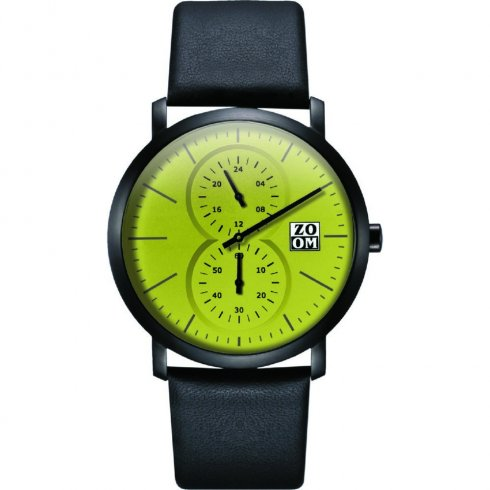 Zoom Cube green dial chronograph leather strap Mens watch ZM.7100M.2511