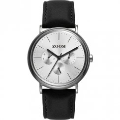 Zoom Match Point silver dial leather strap Mens watch ZM.7117M.2522