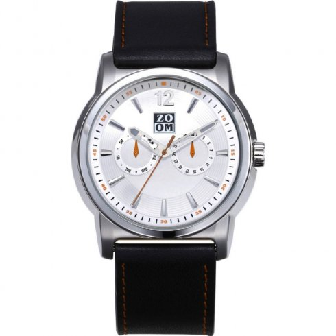 Zoom Planet silver dial leather strap Mens watch ZM.7092M.2501
