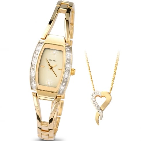 Cream Dial Gold Bracelet La s Watch Gift Set 4361G