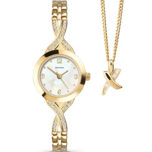 White Dial Gold Semi Bangle Bracelet La s Watch Gift Set 4681G